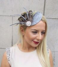 Grey Velvet Yellow Brown Feather Fascinator Vtg Hair Clip Hat Silver Races 2468