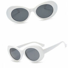 OVAL Cat Eye Sunglasses Vintage Retro KURT COBAIN Style White / Grey Lenses