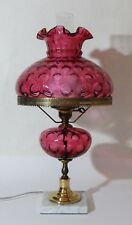 Vintage Fenton Cranberry Coin Dot Ruffled Top Lamp on Marble Base ~ Great Shape