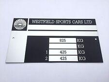 Plaque constructeur WESTFIELD - WESTFIELD vin plate - WESTFIELD typenschild