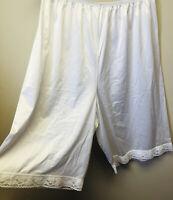 Vintage VANITY FAIR NYLON PETTIPANT TAP PANTS Bloomers White Lace Sissy X L
