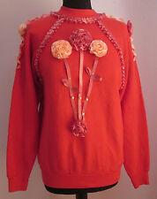 VTG 90s Ladies TULTEX Pink Flowers/Ribbons Cute Sweatshirt Size Medium