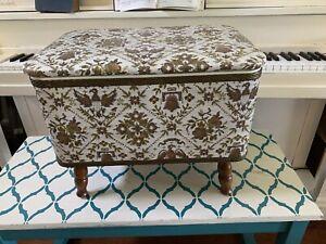 Vintage Mid Century Sewing Box Stool w/Lid Storage American Eagle Gilbert & Ryan