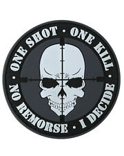1 Shot 1 Kill PVC Hook Moral Badge Military Patch airsoft paintball