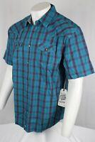 Moonshine Spirit Men's Turquoise Plaid Short Sleeve Western Shirt XL Mssu19w9