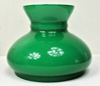 "Vintage 6"" Fitter Green Over White Cased Glass Student Oil Lamp Shade Rayo Juno"