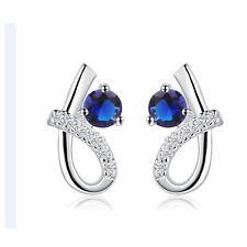 Jewelry Accessories Fashion Blue Crystal Silver Women's Earrings Amethyst