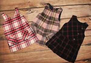Nutmeg Matalan Etc Girls Bundle Dress x 3 Pinafore Winter Set 2-3 Years