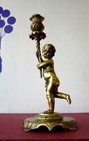 "Gilded Brass CHERUB CANDLESTICK Mid - Century Circa 1850 Heavy! 1350g. 10"" high"