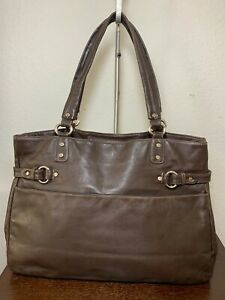 Perlina Carry-all Brown Leather Classic Briefcase Tote Shoulder bag