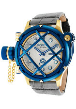 New Men's Invicta 16199 Russian Diver Swiss Mechanical Silver Dial Leather Watch