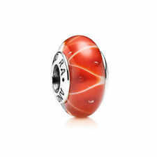 Authentic Pandora Charm Coral Looking Glass Murano Glass 790926 W Suede Pouch