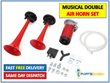 12V CAR/VAN/TRUCK MUSICAL AIR HORNS DUAL TRUMPET HORN COMPRESSOR TWIN TONE 20-50