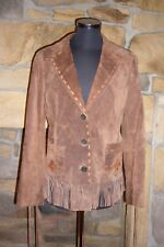 Ladies Biscotti Suede Fringed Appliqued Boho Jacket Size: Small