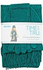 Time and Tru 3 piece soft knit set Emerald Hat Beanie, Glove, and Scarf