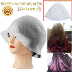 BEST Soft Reusable Silicone Hair Coloring Highlighting Cap Hairdressing+Hook US