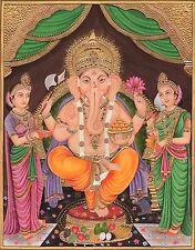 Ganesha Painting Handmade Indian Hindu Ganapati Nayika Religious Ethnic Art