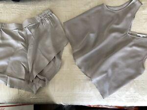Silk Chinese Pajamas Men Woman Silvery Grey PJs Lounge Size 2X  Large XXL New