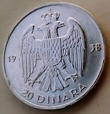 20 Dinara 1938. PETAR II KRALJ Yugoslavia Kingdom, Serbia, Croatia, Silver coin
