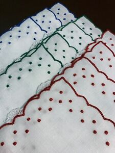 SET OF 11 INCREDIBLE VINTAGE MADEIRA COCKTAIL NAPKINS - DOTS IN BLUE, RED, GREEN
