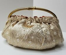 Vintage Brocade Ladies Clutch Handbag Purse Gold & Cream