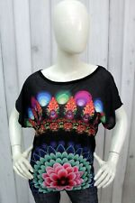 DESIGUAL Taglia S Donna Maglia Nero T-shirt Woman Casual Maglietta Manica Corta