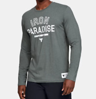 Under Armour Project Rock Tee Mens Medium New Long Sleeve Iron Paradise Grey