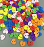 100pcs Wooden Buttons Sewing Scrapbooking heart shape 2 Holes Crafts DIY 12mm