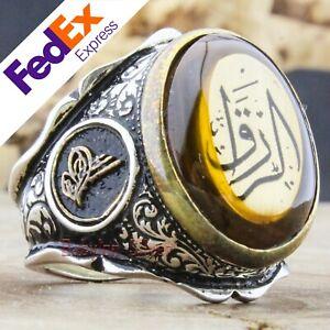 Turkish Handmade 925 Sterling Silver Ottoman Islamic Men's Ring All Sizes