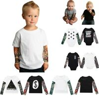 Infant Toddler Baby Kids Boy Tattoo Printed T-Shirt Long Mesh Sleeve Romper Tops