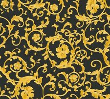 Versace Home Wallpaper floral black gold glitter 34326-2 (8,79£/1qm)