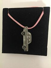 Ford 100E 4 Door Saloon ref82 Pewter Effect Car on a Pink Cord Necklace 41CM