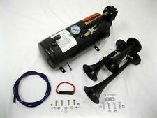 BLACK Metal 12V 150DB Triple Trumpet Train Air Horn 150 PSI Black Air Compressor
