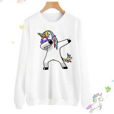 Womens Long Sleeve Hoodie Sweatshirt Pullover Unicorn Blouse Jumper Coat Hooded