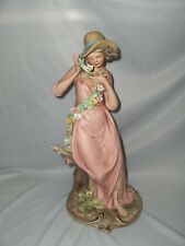 Vntg Capodimonte Italy Ethan Allen Bisque Figurine Lady Signed Nico Venzo RARE