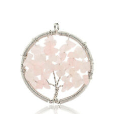 Best Jewelry Gift Natural Rose Quartz Gemstone Silver Tree Necklace Pendants