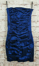 Jessica McClintock Strapless Cocktail Dress Womens Size 4 Metallic Blue