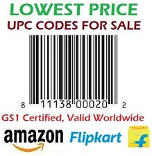 2000 Codes UPC/ EAN Certified Bar-Codes For Listing On Flipkart Amazon BUY2 GET3