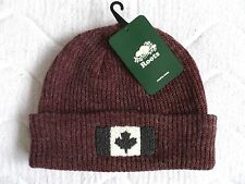ROOTS CANADA Wool Burgundy Flag Beanie Hat Toque UNISEX Cuff Tag SUPER COMFY !