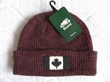 ROOTS CANADA Wool Burgundy Flag Beanie Hat Toque UNISEX Cuff Tag SUPER COMFY !