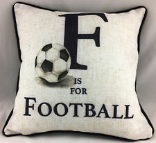 F is For Football With Plain Navy Blue Reverse Evans Lichfield Cushion Cover
