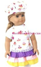 Cupcake Apron & Matching Chef/ Cook Hat 18 in Doll Clothes Fits American Girl