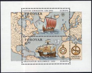 Faroe Islands #238 MNH S/S CV$8.50 America Columbus Eriksson [FaBl5]