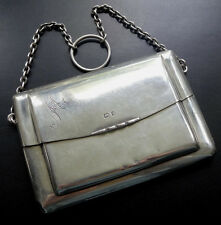 antique Edwardian h/m 1905 SILVER evening bag purse chain & ring unusual -D48