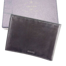 517c8a3781d1 Prada Wallet Purse Bifold Logo Black Mens Authentic Used T3523