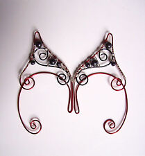 Handmade Pair Of Red, Black & Silver Plated Hematite Elf Ear Cuffs, Elven