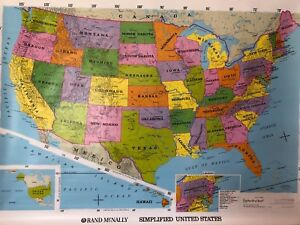 Pull Down School Maps 2 Layer U.S and Alaska. Vintage, Salvage, Old, Antique.