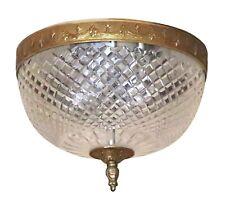 Salvaged Waldorf Cut Crystal Brass Flush Mount Light