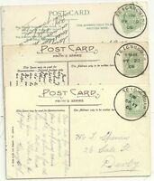 # 1906/08  3 x DEVON PPC VIEWS ALL CANC TEIGNMOUTH SKELETON POSTMARKS