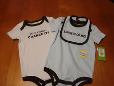 INFANT/BABY BOYS KIDGETS  3PC BODYSUIT/CREEPER SET    SIZE 6-9 MONTHS   (NWT)